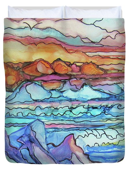 Mountains And Sea Duvet Cover