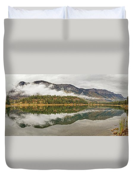 Duvet Cover featuring the photograph Mountainside Reflections by Leda Robertson