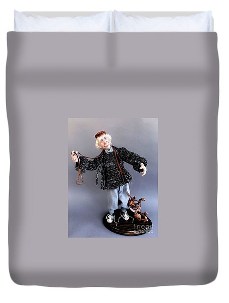 Mr. Wiggles And The Dog Walker Duvet Cover