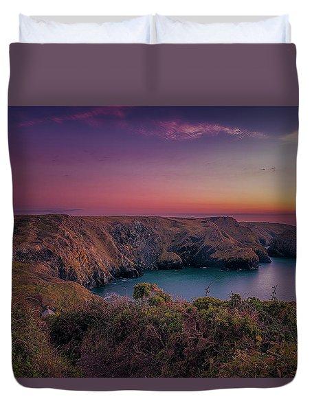 Mullion Cove Cornwall Sunset Duvet Cover