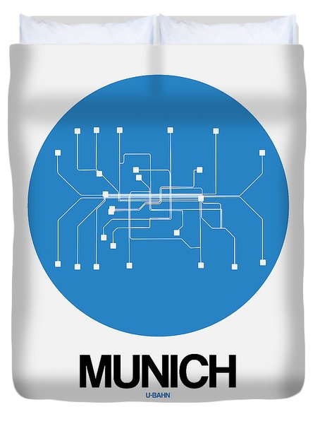Munich Blue Subway Map Duvet Cover