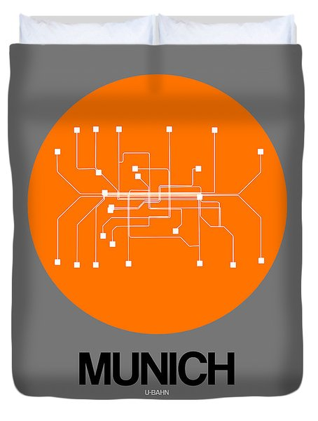 Munich Orange Subway Map Duvet Cover