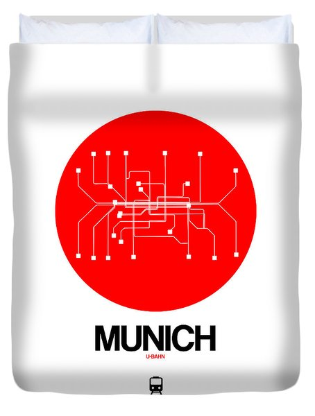Munich Red Subway Map Duvet Cover