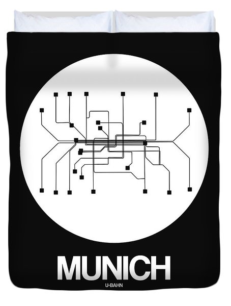 Munich White Subway Map Duvet Cover