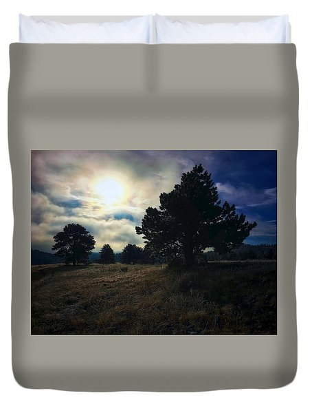 Duvet Cover featuring the photograph Murky Atmosphere Elk Meadow by Dan Miller