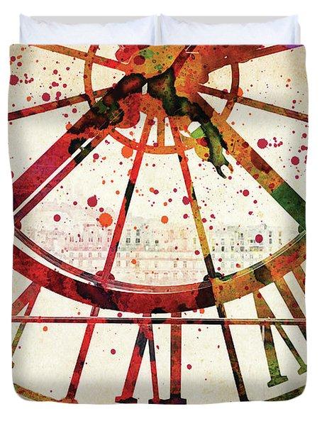 Musee D'orsay Clock Colorful Watercolor Duvet Cover