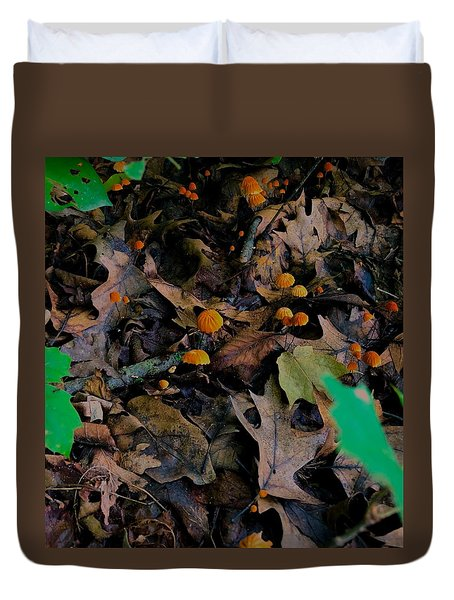 Duvet Cover featuring the photograph Mushrooms And Leaf Litter by Lukas Miller