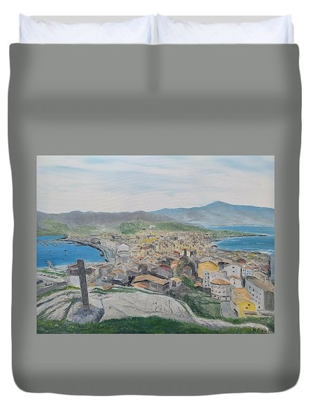 Duvet Cover featuring the painting Muxia by Kevin Daly