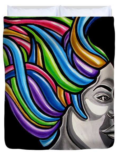 Colorful Abstract Black Woman Face Hair Painting Artwork - African Goddess Duvet Cover