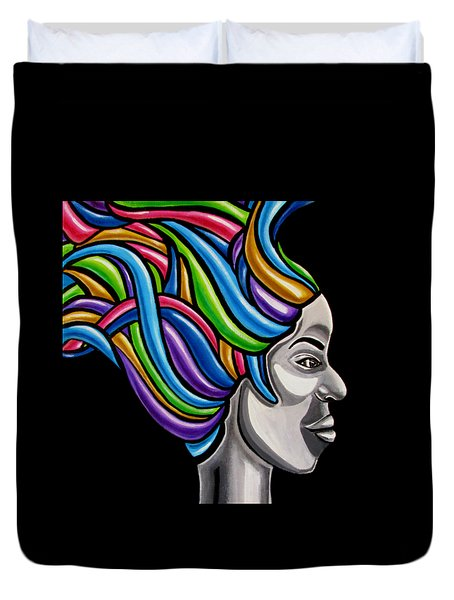 Abstract Face Painting Black Woman Art African Goddess Art Medusa Ai P. Nilson Duvet Cover