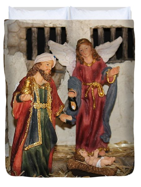 My German Traditions - Christmas Nativity Scene Duvet Cover