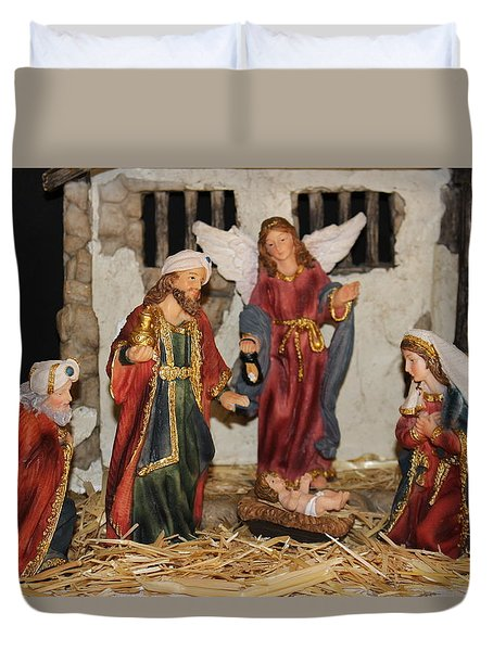 My German Traditions - Christmas Nativity Scene Duvet Cover