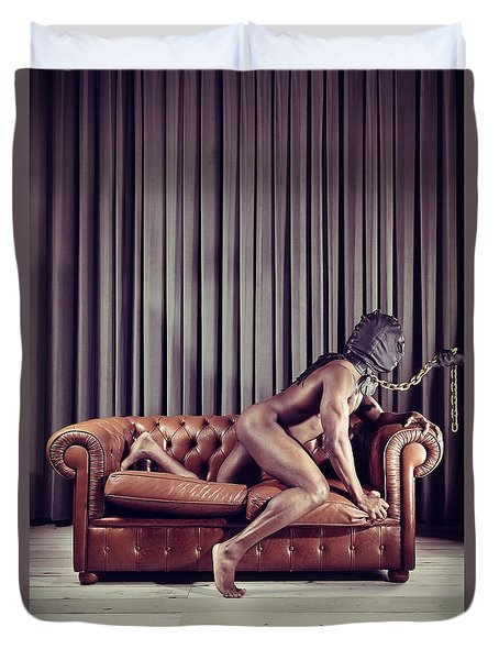 Naked Man With Mask On A Sofa Duvet Cover