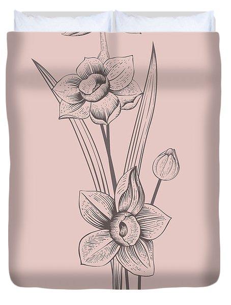 Narcissus Blush Pink Flower Duvet Cover