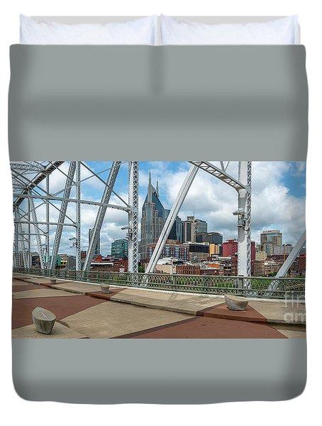 Nashville Cityscape From The Bridge Duvet Cover