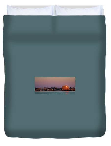 Duvet Cover featuring the photograph National Harbor Reflecting The Sunset by Lora J Wilson