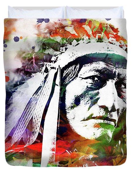 Native American Indian Watercolor 5 Duvet Cover