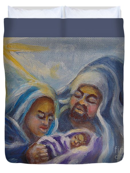 Duvet Cover featuring the painting Nativity by Saundra Johnson