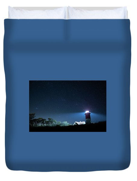 Nauset Light Under The Stars Duvet Cover