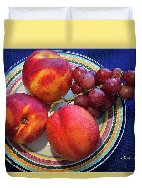 Nectarines And Grapes Duvet Cover