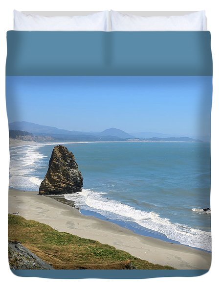 Duvet Cover featuring the photograph Needle Rock 1, Cape Blanco, Oregon by Dawn Richards