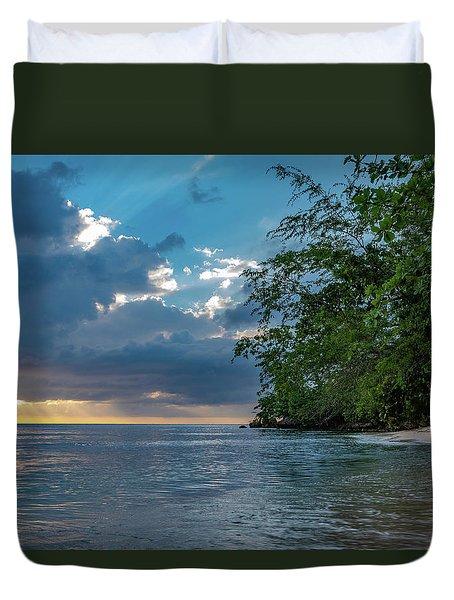 Negril Beach Sunburst At Sunset Duvet Cover