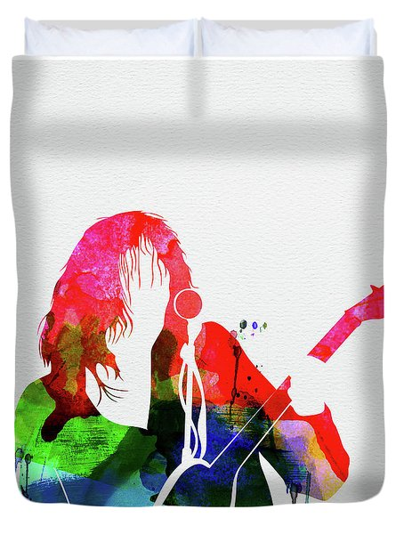 Neil Young Watercolor Duvet Cover
