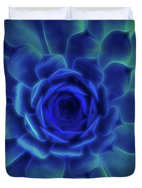 Duvet Cover featuring the digital art Neon Blue Sempervivum by Scott Lyons