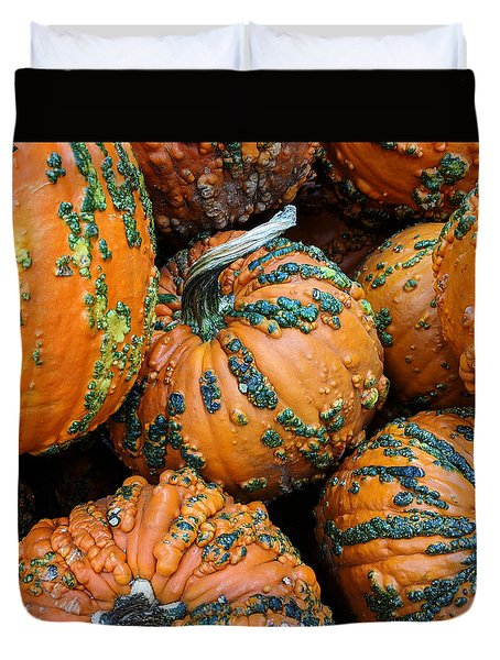 Duvet Cover featuring the photograph Nestled - Autumn Pumpkins by Debi Dalio