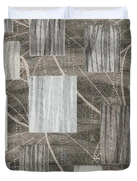 Neutral Leaf Print Squares Cream Duvet Cover