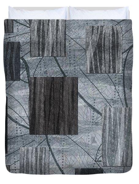 Neutral Toned Leaf Square Print Duvet Cover
