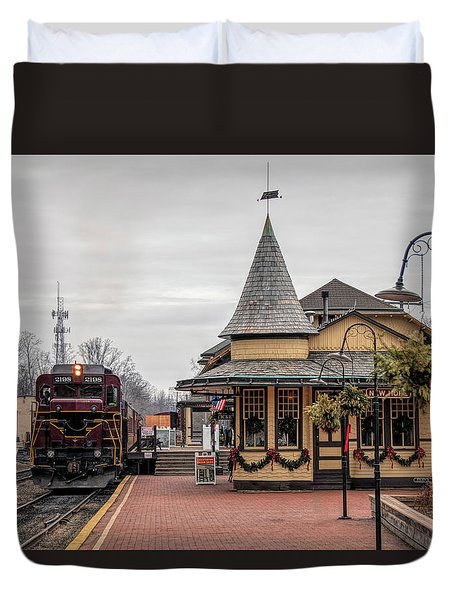 Duvet Cover featuring the photograph New Hope Train Station At Christmas by Kristia Adams