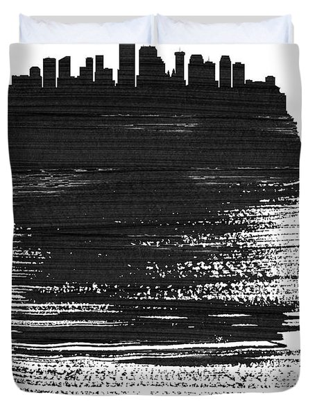 New Orleans Skyline Brush Stroke Black Duvet Cover