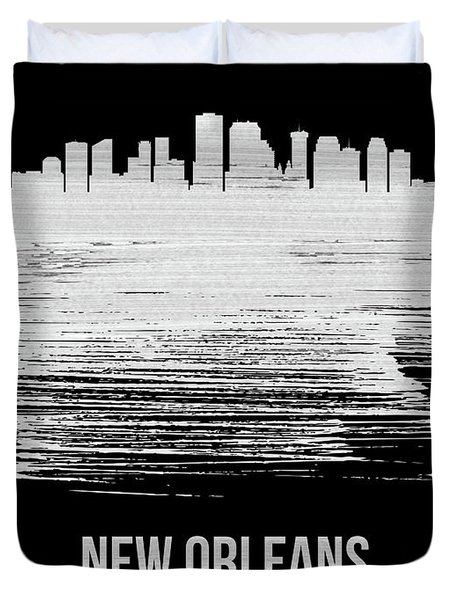 New Orleans Skyline Brush Stroke White Duvet Cover