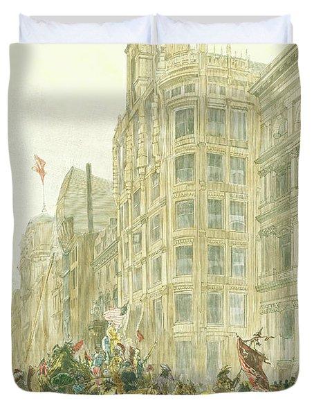 New Years Mummers On Chestnut Street Duvet Cover