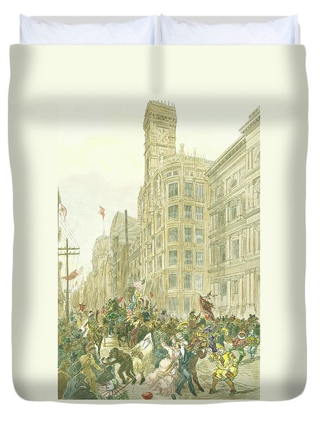 New Years Mummers On Chestnut Street Duvet Cover