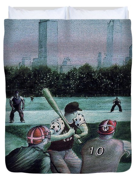 New York Central Park Baseball - Watercolor Art Painting Duvet Cover