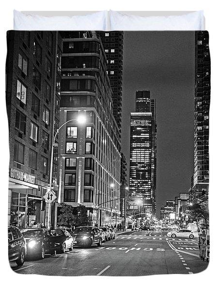 New York City Gotham West Market New York Ny Black And White Duvet Cover