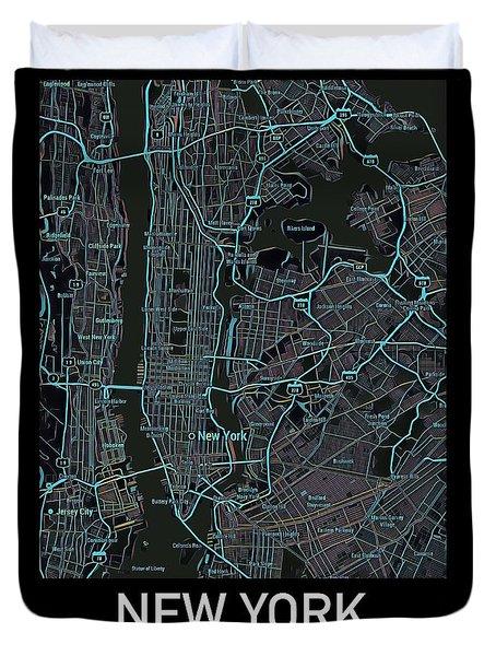 New York City Map Black Edition Duvet Cover