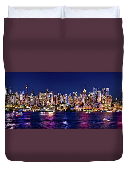 New York City Nyc Midtown Manhattan At Night Duvet Cover