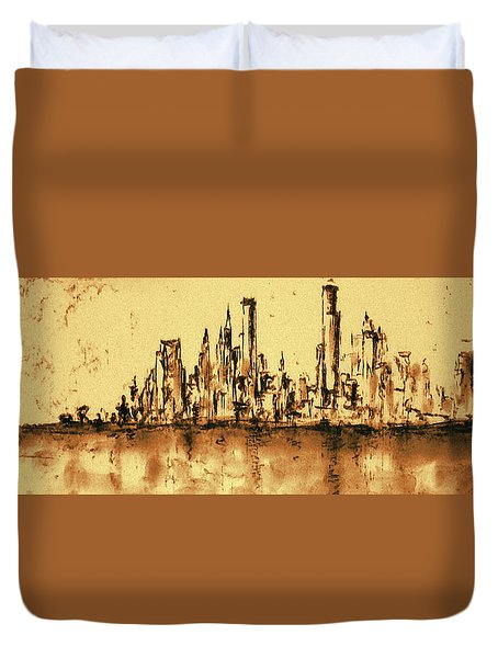New York City Skyline 79 - Water Color Drawing Duvet Cover