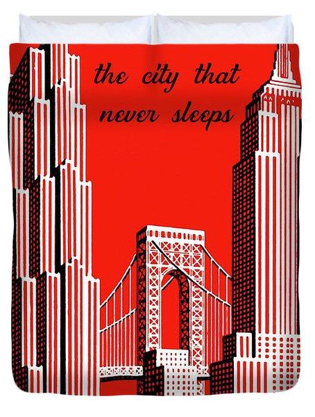 New York City Vintage Skyline Travel Poster Duvet Cover