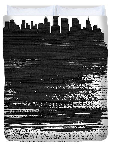 New York Skyline Brush Stroke Black Duvet Cover