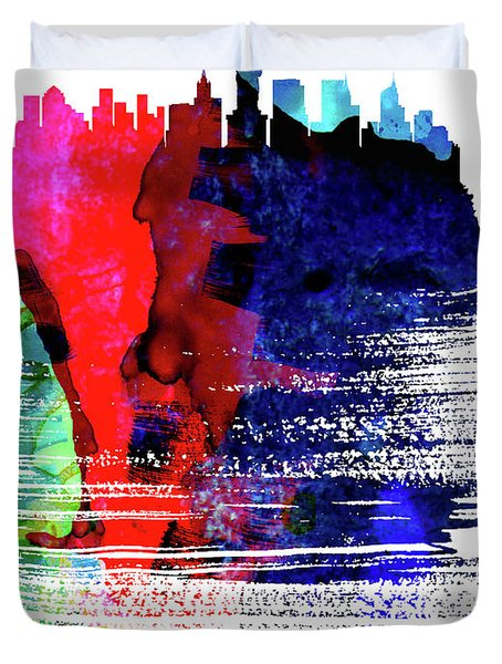 New York Skyline Brush Stroke Watercolor   Duvet Cover