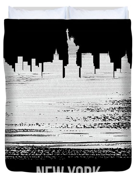 New York Skyline Brush Stroke White Duvet Cover
