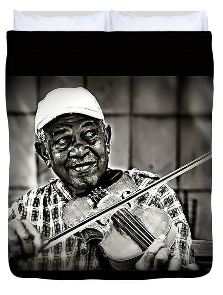 New York Street Fiddler Duvet Cover