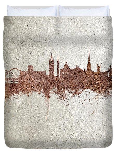 Newcastle England Rust Skyline Duvet Cover