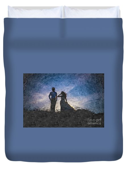 Newlywed Couple After Their Wedding At Sunset, Digital Art Oil P Duvet Cover