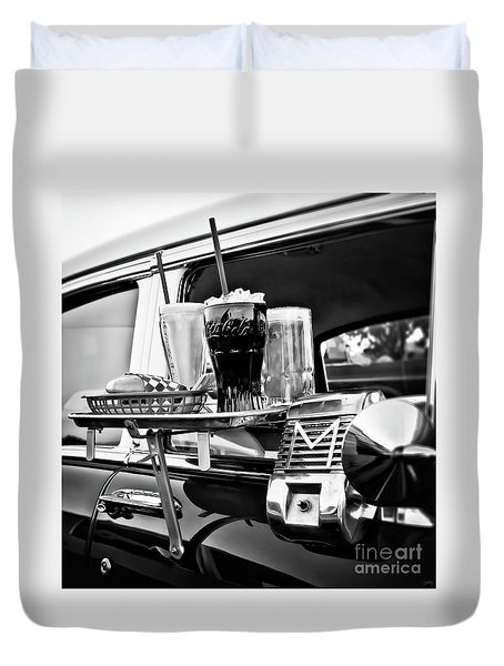 Night At The Drive-in Movies Duvet Cover