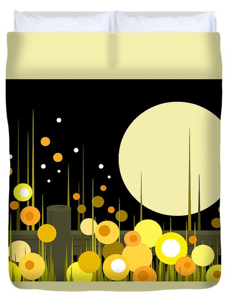 Night Blooming Flowers Duvet Cover
